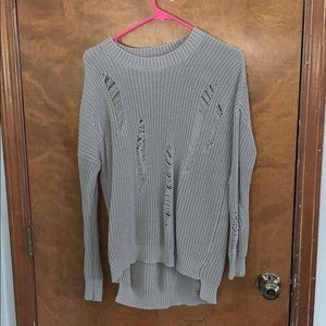 Altars State grey ripped sweater. size small.